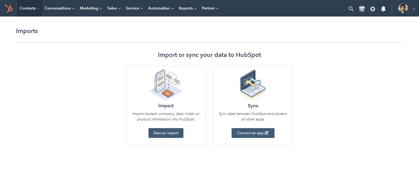 HubSpot CRM data import
