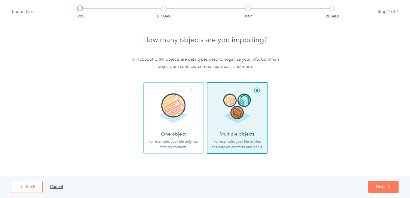 HubSpot CRM import objects